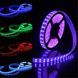 Wholesale Double Rows Waterproof Led Strip - 600LEDs 5M Double Row RGB Strips SMD 5050 LED Strip 12V Silicone Tube Waterproof flexible Light 5meter roll RGB LED Strips