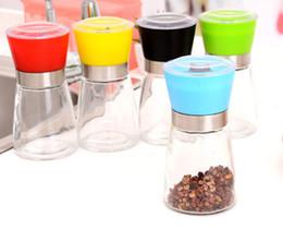 Wholesale Glass Spice Grinder - 2016 High Quality Best selling Glass Pepper set Salt Herb Spice Hand Grinder Mill manual pepper mill 48PCS LOT