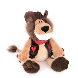 Wholesale Friends Tv Series - 20pcs 28cm NICI Wild Friends Cowboy Lion Stuffed Animal Plush Toy Cartoon Movies & TV Jungle Series Cowboy Lion Hot Toys For Children Gifts