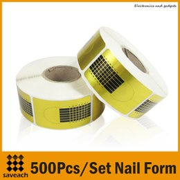 Wholesale Acrylic Nail Extensions - 2015 New 500pcs set Golden Nail Art Tip Extension Forms for Acrylic UV Gel Free Shipping