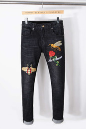 Wholesale Bees Lighting - New designer Italy Style Mens Distressed Bee Embroidered Pants Washed Black Skinny robin jeans Slim biker Trousers fear of god jeans for men