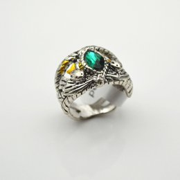 Wholesale Lord Rings Cosplay - New The Lord of the Rings finger ring Hollow Ancient silver gemstone aragon Magic Ring band cuff men cosplay game statement jewelry 080077