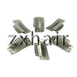 Wholesale Silver Clip Hair Extensions - 40pcs clip snap clip for hair extension wig weft 28mm#silver
