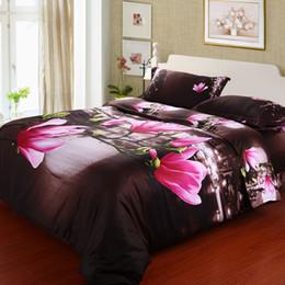 Wholesale Brown Comforter Sets Flowers - China ywxuege 3d Bedding hot sales 100% cotton 3D Senna style flower reactive printed bedding set
