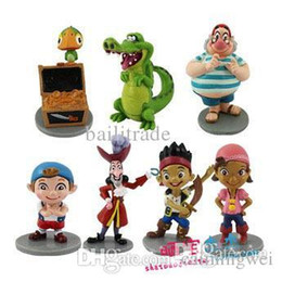 Wholesale Action Figure Caps For Dolls - Wholesale-New 7pcs set Anime Cartoon Jake and The Neverland Pirates PVC Action Figure Toys Cartoon Figure doll Toys for children