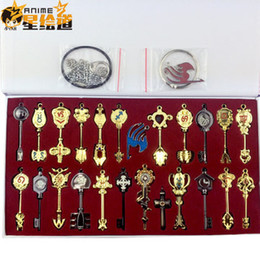 Wholesale Classic Fairy Tails - Japan Anime Fairy Tail Lucy Key of the Zodiac Cosplay Keys ( 24pcs ) + Key Chain high quailty product