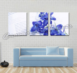 Wholesale Giclee Wall Art - Wholesale Cheap Paintings Home Art Painting Blue Flower 3 Piece Canvas Art Picture Giclee Prints Wall Paintings for Sale