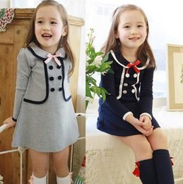 Wholesale Double Breast Girl Dress - Girls Preppy Style Dress Kids False Two Pieces Cotton Petticoat Children Double-Breasted Lapel Dressy With Bow Corsage Gray Navy E1569