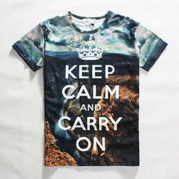 Wholesale Mens V Neck Graphic Tees - 2015 new 3d t shirt keep calm and carry on letters printed graphic tees skull devil  America map  rottweiler dog women mens tees