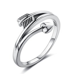 Wholesale Finger Promise Ring - Womens Finger Rings Vintage Love Arrow Shape Rings Promise Love Heart Rings 925 Sterling Silver Jewelry