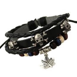 Wholesale Dangling Set - Newly Charms Bracelets Fashion Retro Skull Dangle Leaf For Men Multilayer Beaded Leather Bracelets Bangles Jewelry