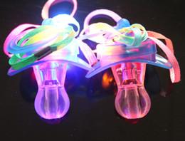 Wholesale Lighted Xmas Necklaces - 50pcs lot 9*5cm Funny Led Glow Pacifier Nipple Whistle Necklace Led Light Up Flashing Bubble Rave Party Blinking Key Finder Xmas Gift