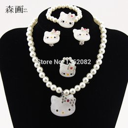 Wholesale Kt Jewelry - SENHUA Kids Baby Girls Princess necklaces Crystal KT Cat Necklace Imitation Pearl Beads Jewelry Set Children Party Gift TZ40