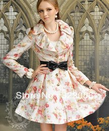 Wholesale Trench Coat Dress Skirt - Wholesale-Free shipping new Jacquard rose 360 degree big princess skirt trench coat dress jaket