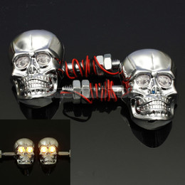 Wholesale Motorcycle Skull Turn Signal Lights - 12V 0.5W Universal Motorcycle Skeleton Head Skull Turn Signal Light Indicator Chrome order<$15 no tracking