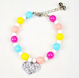 Wholesale Candy Color Collar Necklace - Colorful Candy Pearl Dog Cat Collar Necklace With Peach Heart Diamond Luxury Cute Pet Collar Good Quality L Size Mix Order Min Order 10PCS