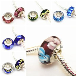 Wholesale Silver Plated Tube Beads - Silver plated 925 logo Murano big hole Beads Glass Beads Clear Cz screw thread tube Fits European Bracelet Necklace accessories charms