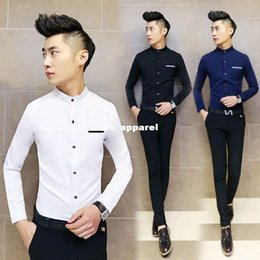 Wholesale Slimming Bomb - 2015 spring new men's casual long-sleeved shirt collar Slim tide men men's fashion shirt micro-bomb