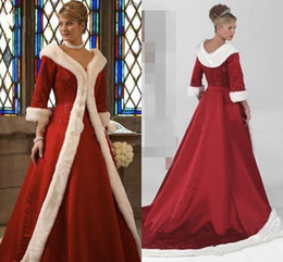 Wholesale Fur Lining Jacket - 2018 Cloak Winter Wedding Dresses With Wrap Long Sleeves Cowl Backs Red Warm Lace Embroidery Faux Fur Bridal Dress Christmas Gowns Jacket