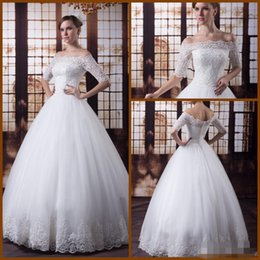 Wholesale Floor Products - 2015 new Modern Long Sleeve Ball Gown Wedding Dress Sexy Real Product Portrait Capped Half Floor Length Church Bridal Gowns Back Zipper