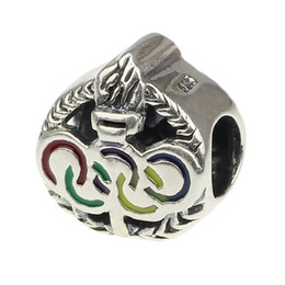 Wholesale Enamel European Ring - Beads Hunter Jewelry Authentic 925 Sterling Silver Enamel Olympic Rings and Torch charm jewelry bead for 3mm European Bracelets snake chains