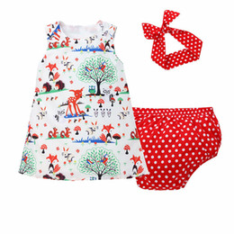 Wholesale hats for dresses - Baby Three-piece Clothing Sets Cartoon Dress Baby Rompers Children Jumpsuits for Boys Girls Pants Shorts Hairband Hats Tops 6M-3T