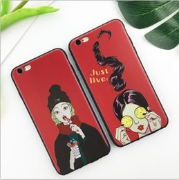 Wholesale I Phone Gel - 18 ZJX 2017 New Design fashion girl animation photo ,fish logo ,cartoon picture back cover for Red silica gel for I-phone and Android