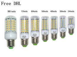 Wholesale E27 36led - Free DHL GU10 E27 G9 E14 24led 9W 36led 12W 48led 15W 56led 18W 72LED 96LEDS SMD 5730 LED lamp Ultra Bright LED Corn Bulb light Chandelier