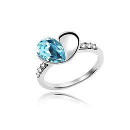 Marca Anéis De Cristal Do Coração Para As Mulheres Melhor Presente de Alta Qualidade Amor Jóias 18 K Branco Banhado A Coração Da Chuva Anéis de Jóias Finas 8064 de