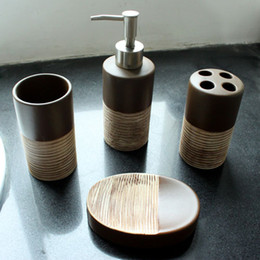 Wholesale liquid soap dispenser wholesale - 4pcs  Set Bathroom Accessory Set Toilet Requisites Soap Dish Liquid Dispenser Toothbrush Holder Tumbler Bathroom Accessories Set