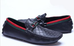 Wholesale Chain Slip - 2018 Mens Shoes Casual Brands Genuine Leather Men Loafers Moccasins Breathable Slip On Boat Shoes Men Luxury Size 40-46