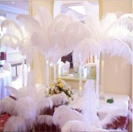Wholesale 16 Inch Feathers - 100 pcs Per lot 14-16 Inch White Ostrich Feather Plume Craft Supplies Wedding Party Table Centerpieces Decoration Free Shipping