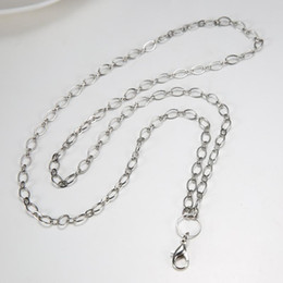 Wholesale Glass Cross Pendants For Necklaces - floating locket chain women's White gold color lobster 80cm rolo chain necklace for floating glass locket xmas mother