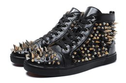 Wholesale Mens Nails - Luxury Brand Red Bottom Sneakers black Suede with Spikes Casual Mens Womens Shoes Miscellaneous nail Trainers Footwear Flat Shoes size36-46
