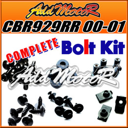 Wholesale Honda Cbr 929 Body Kit - Addmotor 111 Pieces Set Black Complete Fairing Bolt Kit Body Screws Fasteners For Honda CBR929RR 2000-2001 CBR 929 RR 00-01 H90S