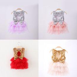 Wholesale Dress Suspenders Ruffle - Girls Sequins Cake Skirt Bow Suspender Skirt Summer TUTU Skirts Grenadine Fashion Baby Girls Dresses 2-7 T