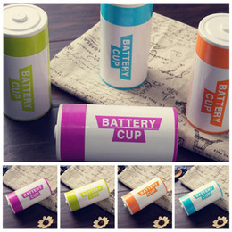 Wholesale battery cup warmer - Simulation Battery Shape Water Cup 350ML Stainless Steel Coffee Mug Cup Thermo Mug Coffee Milk Water Cups 60pcs LJJO3777