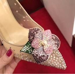 Wholesale Embellished High Heels - Nude Mesh Crystal Embellished Pumps Luxury Brand Floral Chic High Heels Wedding Party Shoes Woman Ladies Stiletto Heels