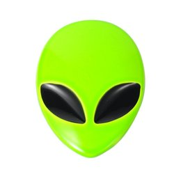 Wholesale Green Motorcycle Decals - Fluorescent Green Car 3D Logo Metal Aliens Auto Truck Motorcycle Emblem Badge Sticker Decal