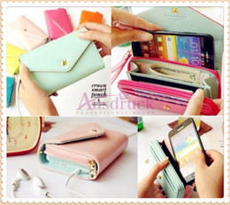 Wholesale Leather Card Lady - Hot sale Coin Purses CROWN Smart Pouch phone case holders mini Ladies handbag clutch bags