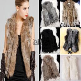 Wholesale Real Rabbit Vest - 3 types For Choose: Real Rabbit Fur Gilet With Raccoon Fur Collar Coat   Faux Fur Leather Vest   Faux Fur Coat Jacket Beige b6