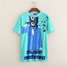 Wholesale Shirt Men Music - FG1509 Summer Personalized Brand Letter Print gun T Shirts Short Sleeve Music addicted T-shirt Man Top Tee Shirt masculinas