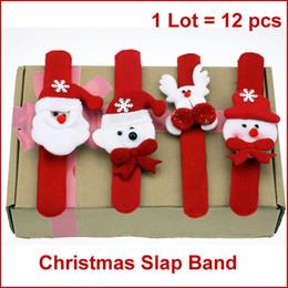 Wholesale Stuffed Bear Ornaments - Wholesale-F12 Christmas Slap Band, Snap Straps, Wrist Band Bracelet w  Stuffed Santa, Snowman, Reindeer, Bear, Christmas Gifts 12pcs lot