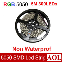 Wholesale Led Housing Strip - Flexible RGB multi-color SMD 5050 Led strip light DC12V 5m 300LEDs 14.4W m Non-Waterproof led string for house decoration lighting