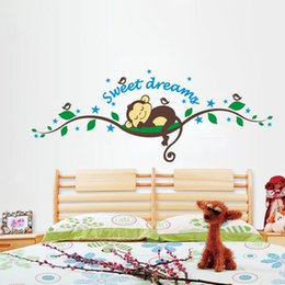 Wholesale Monkey Decorations - Home Decoration Cartoon Monkey Forest Wall Stickers Adesivo De Parede Art Decals Mural DIY Wallpaper Removable Room Decal, dandys