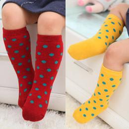 Wholesale Long Infant Socks - 2015 fashion dot baby knee high socks chaussettes enfant newborn infant baby long striped kids children cotton sock meias sokken