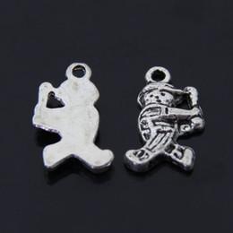 O Envio gratuito de 50 pçs / lote Esportes Atleta jogador De Beisebol charme pingente 10 * 13mm antigo saco de ajuste de prata móvel diy fazer jóias de
