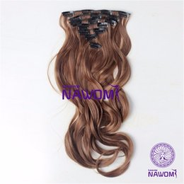 "Wholesale Long Wavy Clip Extensions - New 18""45CM Long Apply Hair On the Piece 7Pcs Set Synthetic Extensions Heat Resistant Brown Wavy Fiber Clip Hairpiece Full Head"