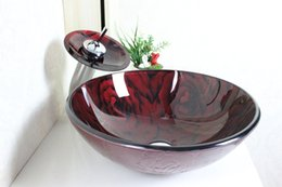Wholesale Tempered Glass Basin Sinks - Color hand-painted circular basin Tempered Glass Vessel Sink With Faucet Set 4014