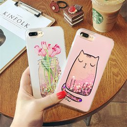 Vasi di telefono online-Cartoon Cat Flower Vase Girl Love Heart Glitter Stars Dyanmic Liquid Quicksand Soft TPU Cover posteriore per iPhone 6 6S 7 Plus 8 8plus